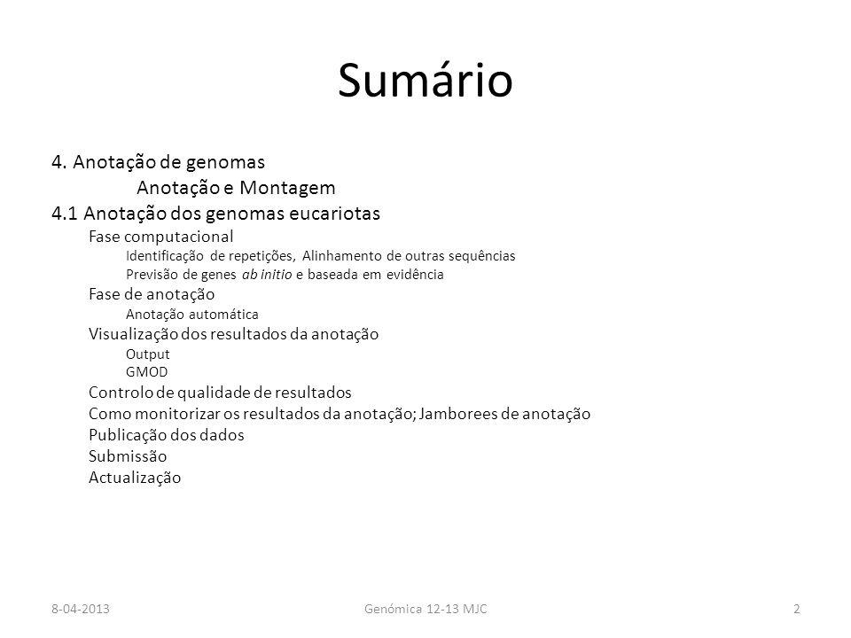 Anotação de genomas Estrutural – Identificar os genes e as suas fronteiras e composição em: intrões/exões; operões Funcional – Ligação das estruturas (sequências) a ontologias genéticas 8-04-2013Genómica 12-13 MJC3