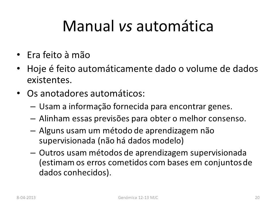 Manual vs automática Era feito à mão Hoje é feito automáticamente dado o volume de dados existentes.