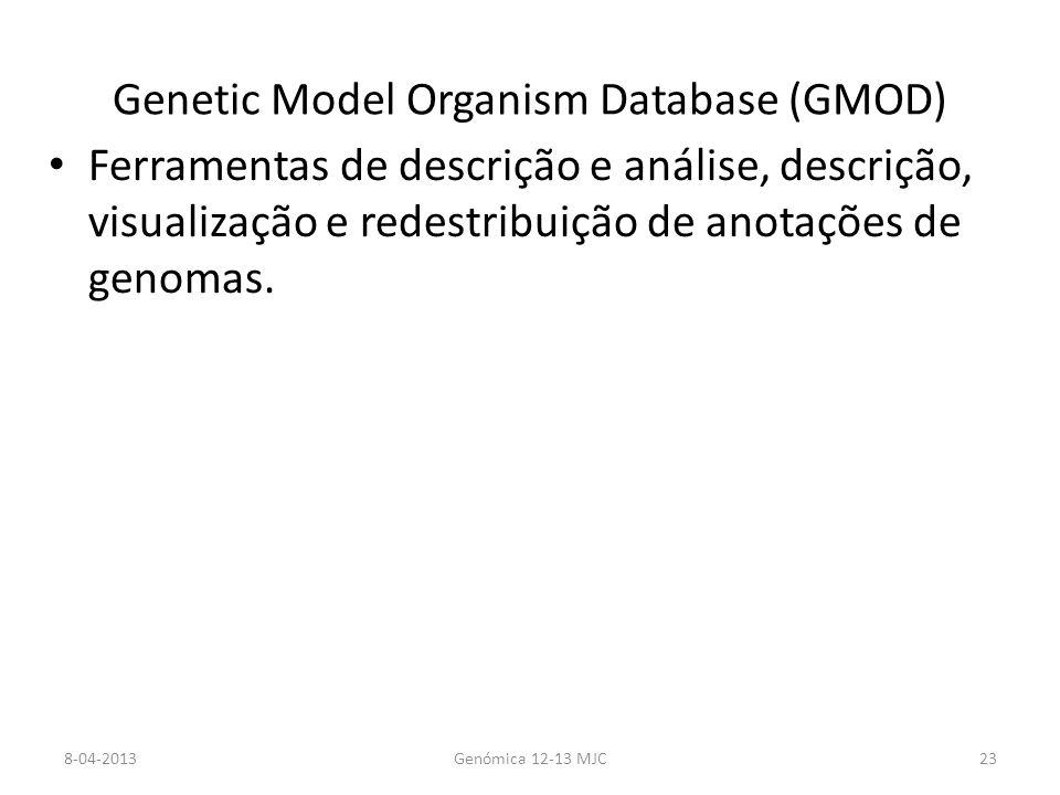 Genetic Model Organism Database (GMOD) Ferramentas de descrição e análise, descrição, visualização e redestribuição de anotações de genomas.