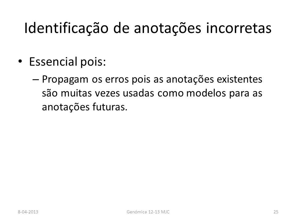 Identificação de anotações incorretas Essencial pois: – Propagam os erros pois as anotações existentes são muitas vezes usadas como modelos para as anotações futuras.