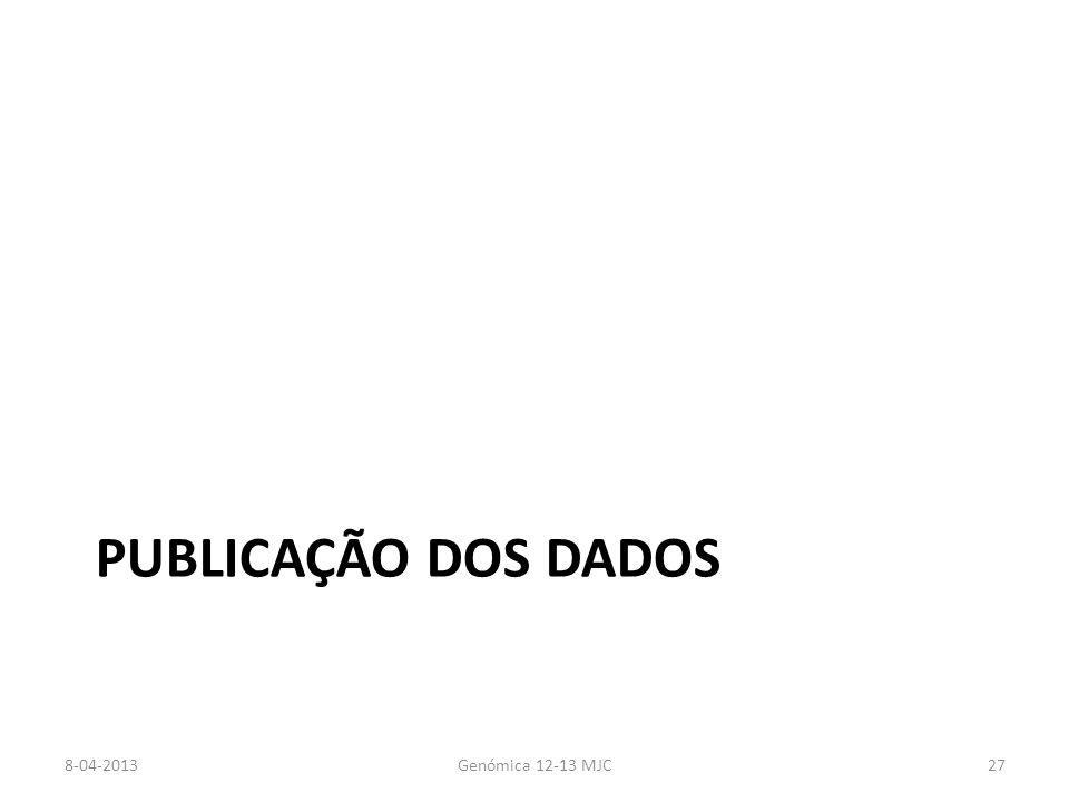 PUBLICAÇÃO DOS DADOS 8-04-2013Genómica 12-13 MJC27