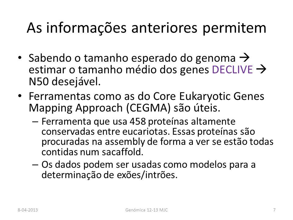 Bases de dados de Genomas Bases de dados globais GeneBank Ensembl Bases de dados específicas BeeBase Gramene Plant GDB Phytozome VectorBase 8-04-2013Genómica 12-13 MJC28