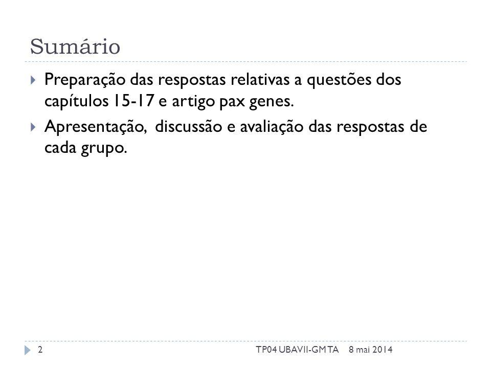 Capítulo 15 Caracterize os cancros que apresentam história familiar. 8 mai 20143TP04 UBAVII-GM TA