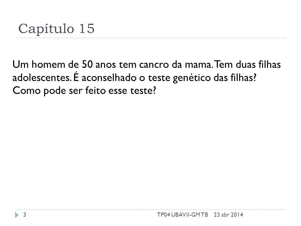 Capítulo 15 Um homem de 50 anos tem cancro da mama. Tem duas filhas adolescentes. É aconselhado o teste genético das filhas? Como pode ser feito esse