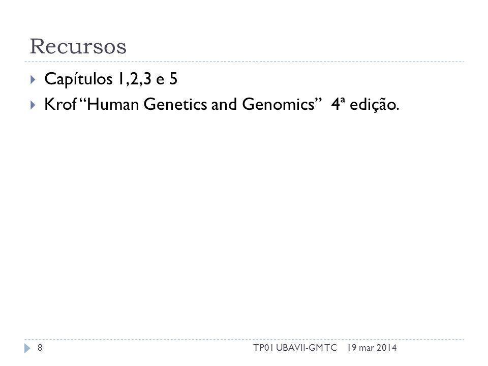 Recursos Capítulos 1,2,3 e 5 Krof Human Genetics and Genomics 4ª edição. 19 mar 20148TP01 UBAVII-GM TC