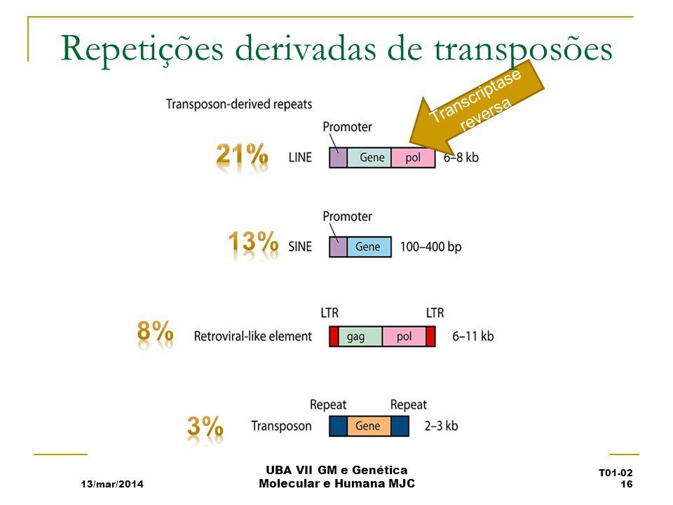 13/mar/2014 UBA VII GM e Genética Molecular e Humana MJC T01-02 16 Transcriptase reversa Repetições derivadas de transposões