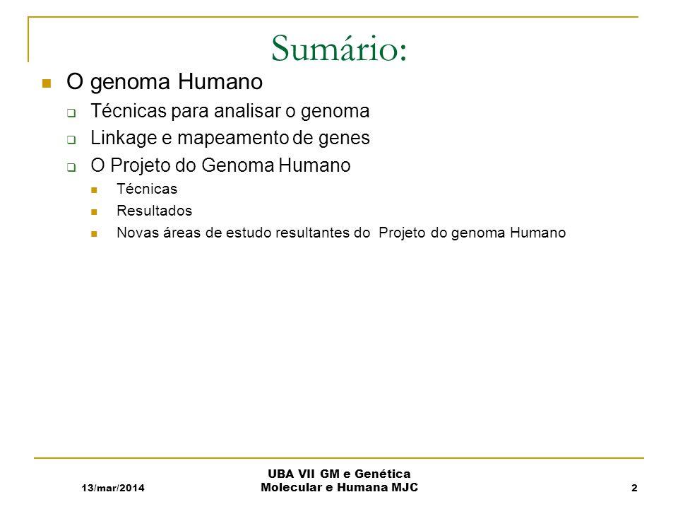 13/mar/2014 UBA VII GM e Genética Molecular e Humana MJC Sumário: O genoma Humano Técnicas para analisar o genoma Linkage e mapeamento de genes O Projeto do Genoma Humano Técnicas Resultados Novas áreas de estudo resultantes do Projeto do genoma Humano 2