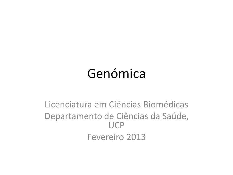 Genómica Licenciatura em Ciências Biomédicas Departamento de Ciências da Saúde, UCP Fevereiro 2013