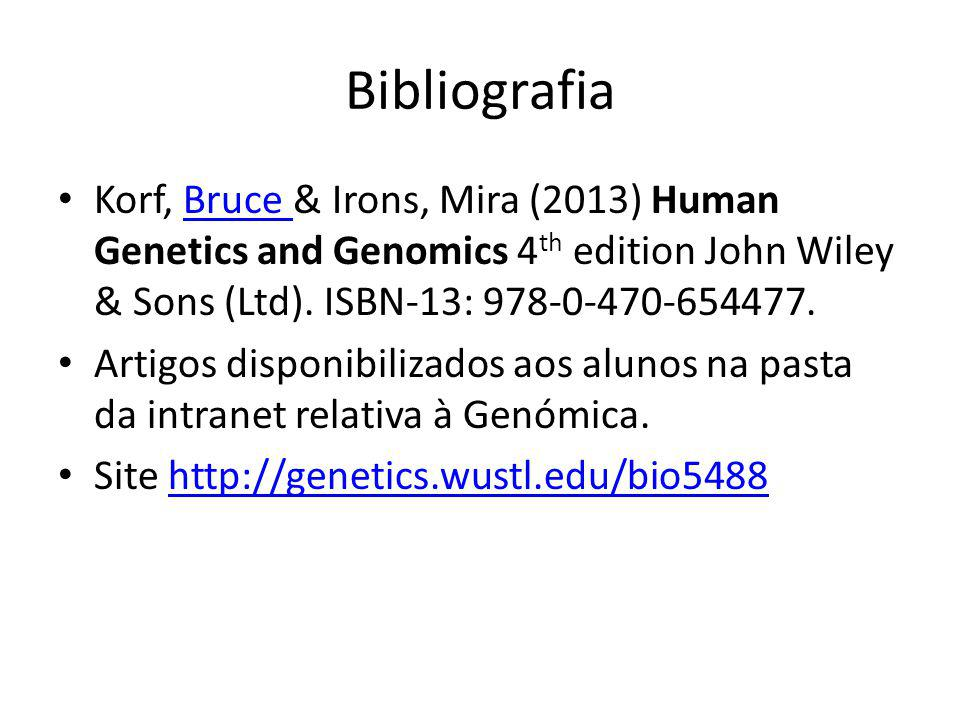 Bibliografia Korf, Bruce & Irons, Mira (2013) Human Genetics and Genomics 4 th edition John Wiley & Sons (Ltd). ISBN-13: 978-0-470-654477.Bruce Artigo
