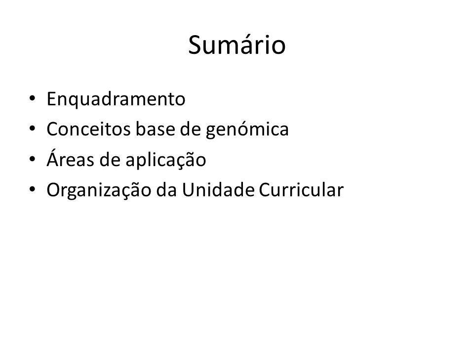 Sumário Enquadramento Conceitos base de genómica Áreas de aplicação Organização da Unidade Curricular