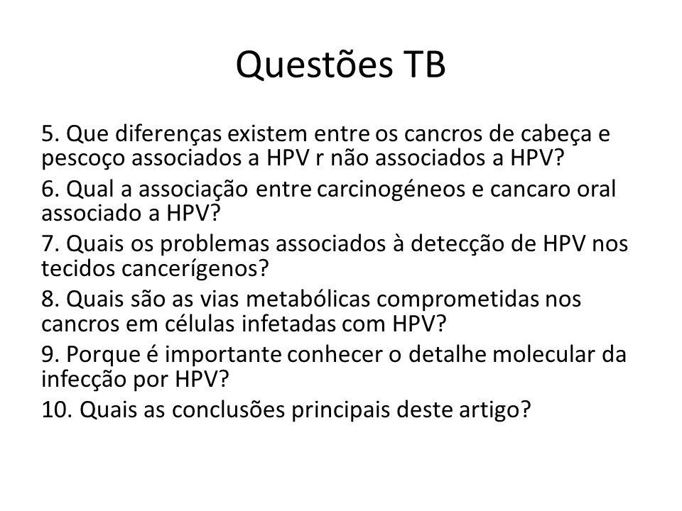 Questões TB 5. Que diferenças existem entre os cancros de cabeça e pescoço associados a HPV r não associados a HPV? 6. Qual a associação entre carcino