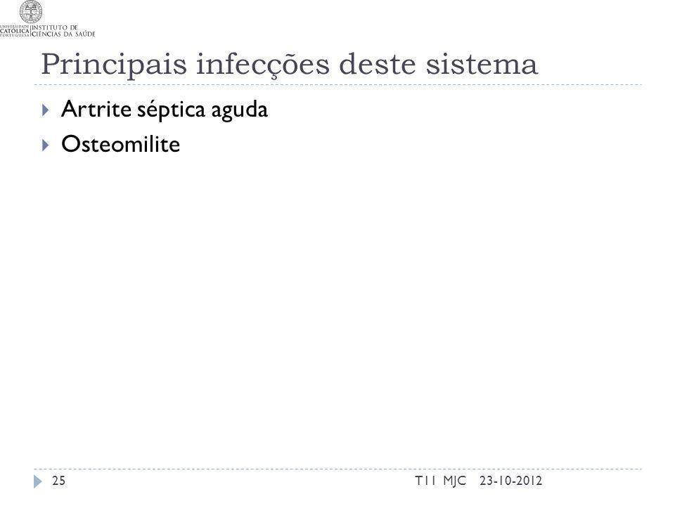 Principais infecções deste sistema Artrite séptica aguda Osteomilite 23-10-201225T11 MJC