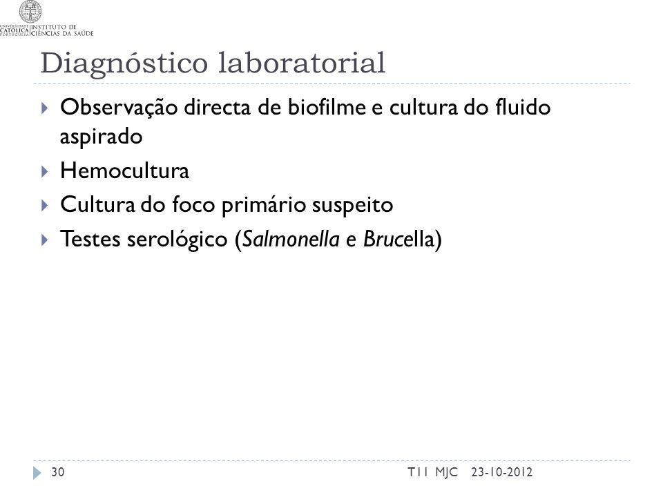 Diagnóstico laboratorial Observação directa de biofilme e cultura do fluido aspirado Hemocultura Cultura do foco primário suspeito Testes serológico (Salmonella e Brucella) 23-10-201230T11 MJC