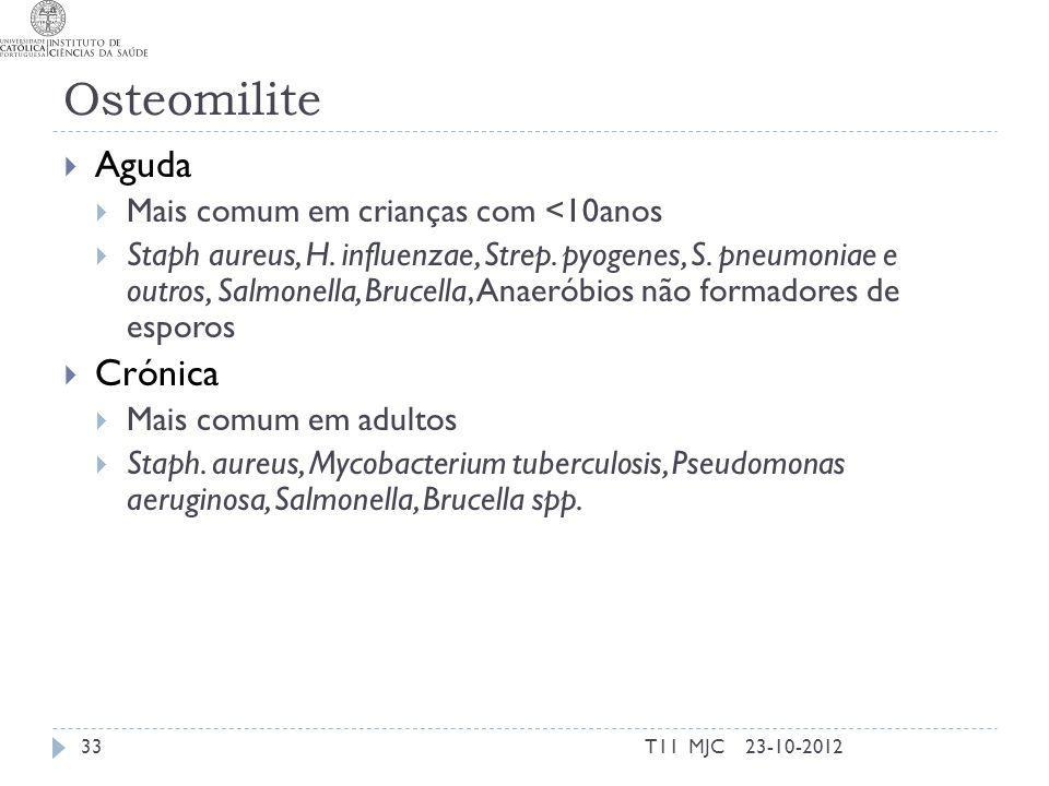 Osteomilite Aguda Mais comum em crianças com <10anos Staph aureus, H.