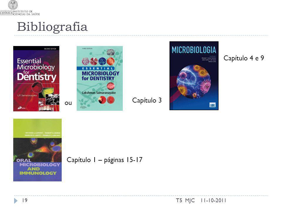 Bibliografia T5 MJC19 Capítulo 3 Capítulo 1 – páginas 15-17 11-10-2011 ou Capítulo 4 e 9