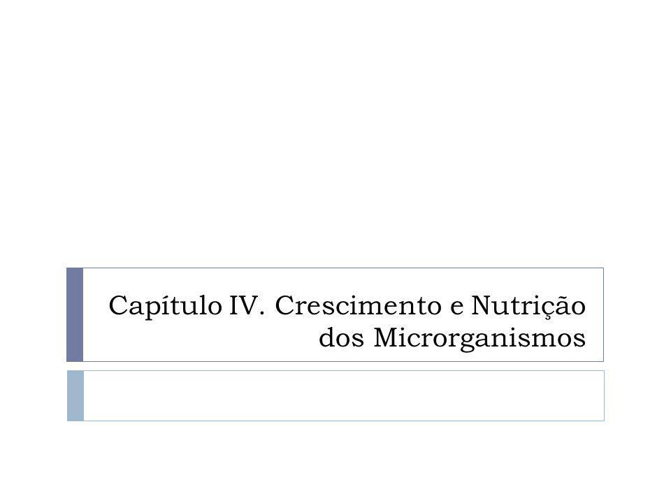 Capítulo IV. Crescimento e Nutrição dos Microrganismos
