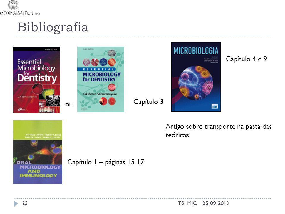 Bibliografia T5 MJC25 Capítulo 3 Capítulo 1 – páginas 15-17 25-09-2013 ou Capítulo 4 e 9 Artigo sobre transporte na pasta das teóricas