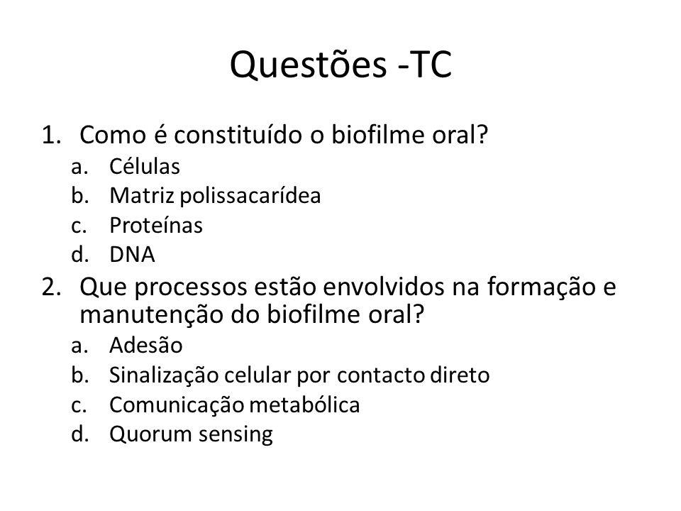 Questões -TC 1.Como é constituído o biofilme oral? a.Células b.Matriz polissacarídea c.Proteínas d.DNA 2.Que processos estão envolvidos na formação e