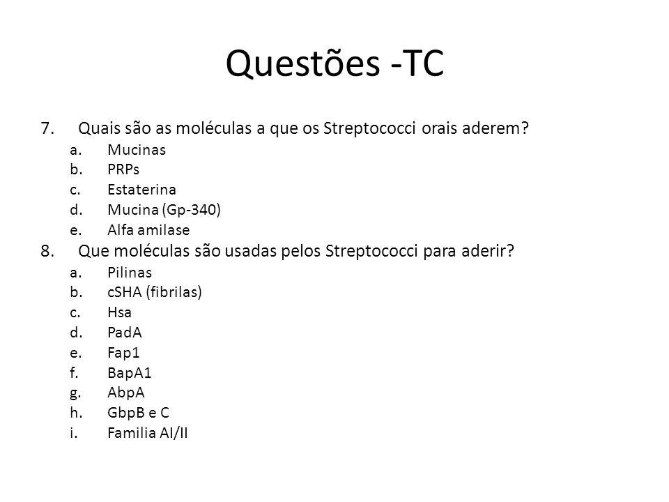 Questões -TC 7.Quais são as moléculas a que os Streptococci orais aderem? a.Mucinas b.PRPs c.Estaterina d.Mucina (Gp-340) e.Alfa amilase 8.Que molécul