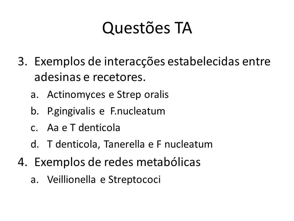 Questões TA 3.Exemplos de interacções estabelecidas entre adesinas e recetores. a.Actinomyces e Strep oralis b.P.gingivalis e F.nucleatum c.Aa e T den
