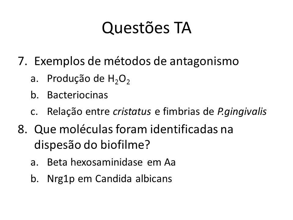 Questões TA 7.Exemplos de métodos de antagonismo a.Produção de H 2 O 2 b.Bacteriocinas c.Relação entre cristatus e fimbrias de P.gingivalis 8.Que molé