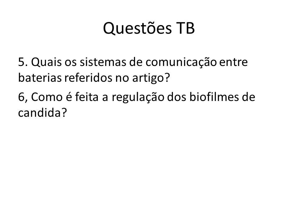 Questões TB 5. Quais os sistemas de comunicação entre baterias referidos no artigo? 6, Como é feita a regulação dos biofilmes de candida?