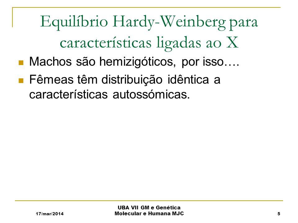 Equilíbrio Hardy-Weinberg para características ligadas ao X Machos são hemizigóticos, por isso….