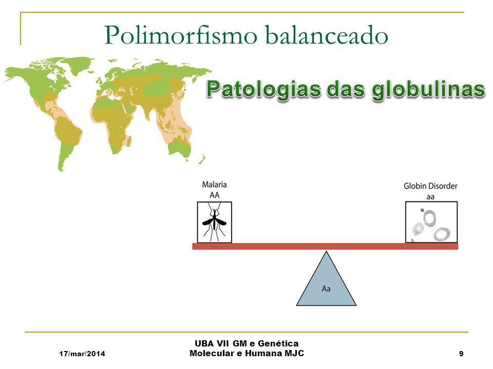Polimorfismo balanceado 17/mar/2014 UBA VII GM e Genética Molecular e Humana MJC 9
