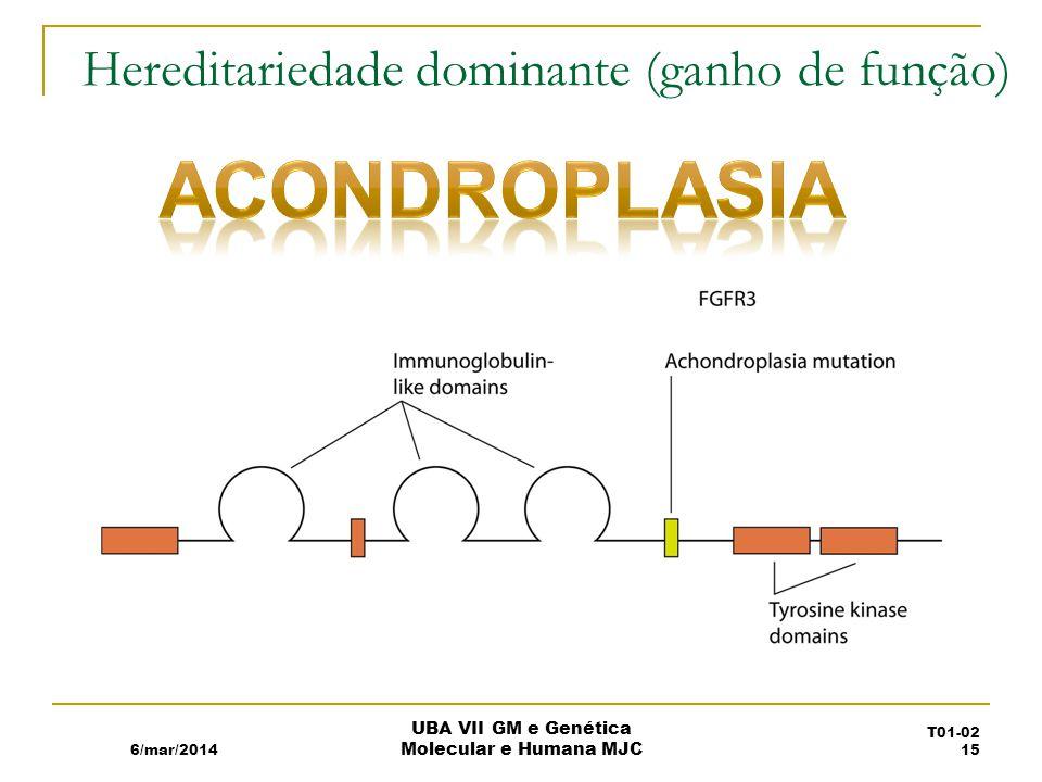 Hereditariedade dominante (ganho de função) 6/mar/2014 UBA VII GM e Genética Molecular e Humana MJC T01-02 15
