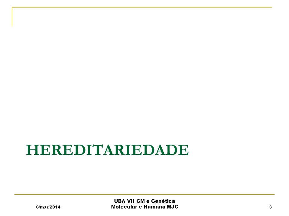 HEREDITARIEDADE 6/mar/2014 UBA VII GM e Genética Molecular e Humana MJC 3