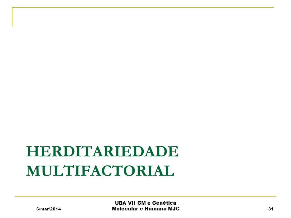 HERDITARIEDADE MULTIFACTORIAL 6/mar/2014 UBA VII GM e Genética Molecular e Humana MJC 31