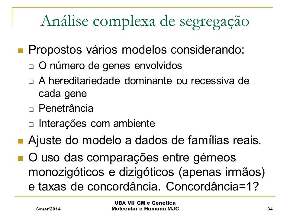 Análise complexa de segregação Propostos vários modelos considerando: O número de genes envolvidos A hereditariedade dominante ou recessiva de cada gene Penetrância Interações com ambiente Ajuste do modelo a dados de famílias reais.