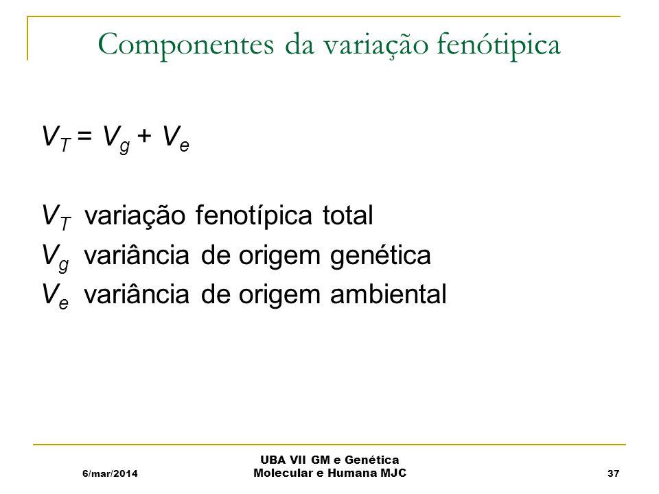 Componentes da variação fenótipica V T = V g + V e V T variação fenotípica total V g variância de origem genética V e variância de origem ambiental 6/mar/2014 UBA VII GM e Genética Molecular e Humana MJC 37