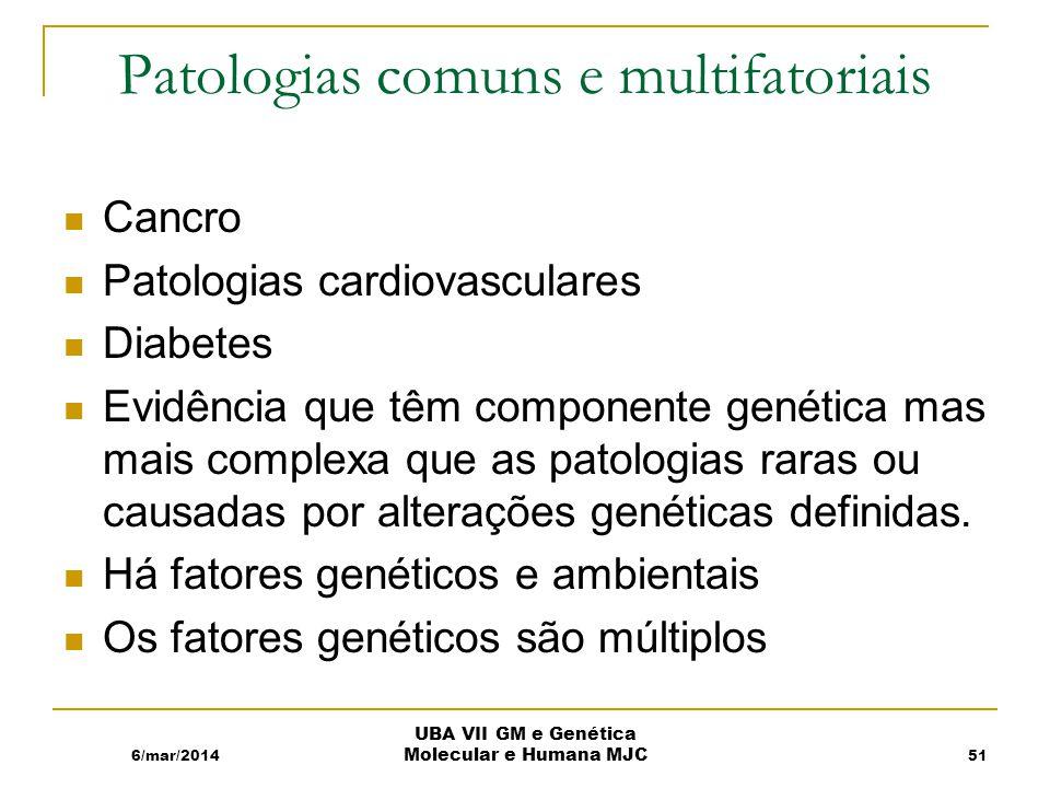 Patologias comuns e multifatoriais Cancro Patologias cardiovasculares Diabetes Evidência que têm componente genética mas mais complexa que as patologias raras ou causadas por alterações genéticas definidas.