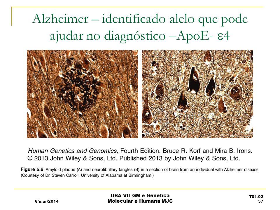Alzheimer – identificado alelo que pode ajudar no diagnóstico –ApoE- 4 6/mar/2014 UBA VII GM e Genética Molecular e Humana MJC T01-02 57