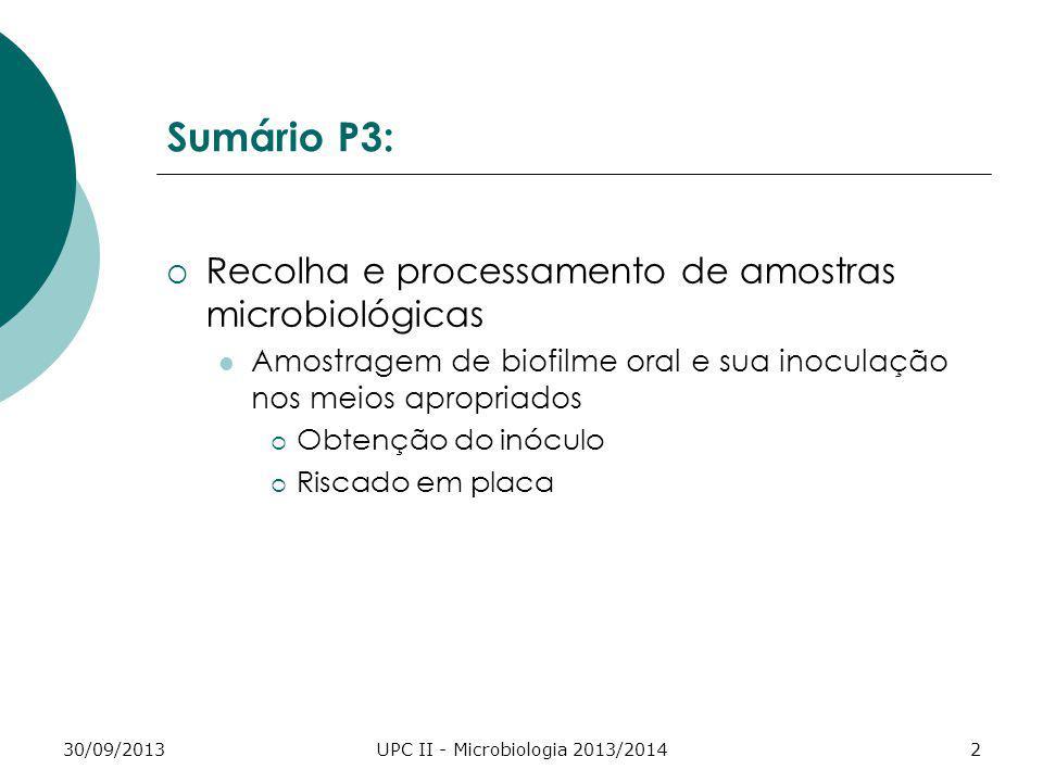 30/09/2013UPC II - Microbiologia 2013/20142 Sumário P3: Recolha e processamento de amostras microbiológicas Amostragem de biofilme oral e sua inoculaç