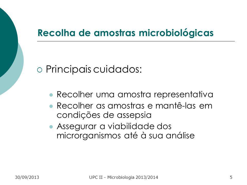 30/09/2013UPC II - Microbiologia 2013/20145 Recolha de amostras microbiológicas Principais cuidados: Recolher uma amostra representativa Recolher as a