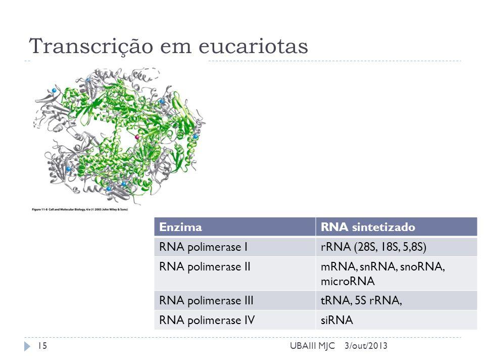 Transcrição em eucariotas 3/out/2013UBAIII MJC EnzimaRNA sintetizado RNA polimerase IrRNA (28S, 18S, 5,8S) RNA polimerase IImRNA, snRNA, snoRNA, micro