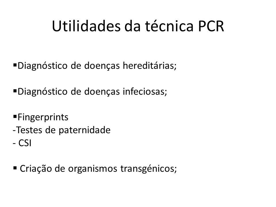 Utilidades da técnica PCR Diagnóstico de doenças hereditárias; Diagnóstico de doenças infeciosas; Fingerprints -Testes de paternidade - CSI Criação de organismos transgénicos;