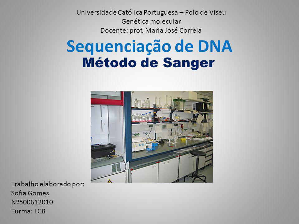 Sequenciação de DNA Método de Sanger Universidade Católica Portuguesa – Polo de Viseu Genética molecular Docente: prof. Maria José Correia Trabalho el