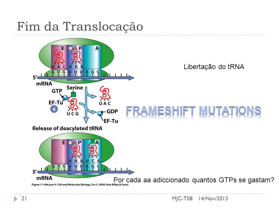 Fim da Translocação Libertação do tRNA Por cada aa adiccionado quantos GTPs se gastam? 14/Nov/201321MJC-T08