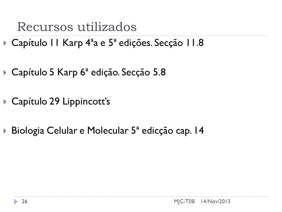 Recursos utilizados Capítulo 11 Karp 4ªa e 5ª edições. Secção 11.8 Capítulo 5 Karp 6ª edição. Secção 5.8 Capítulo 29 Lippincotts Biologia Celular e Mo