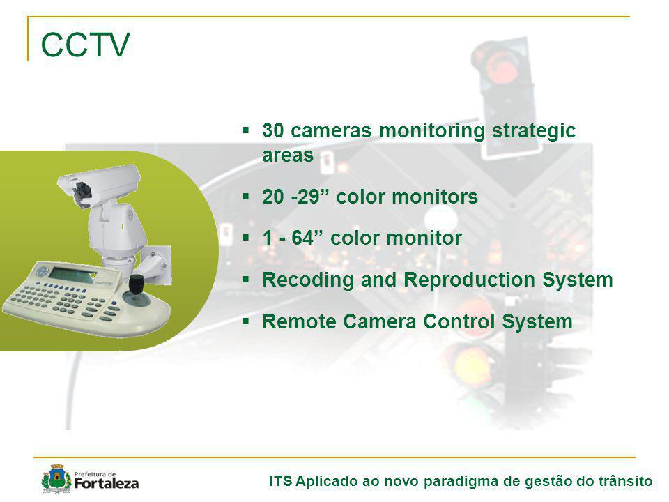 ITS Aplicado ao novo paradigma de gestão do trânsito CCTV 30 cameras monitoring strategic areas 20 -29 color monitors 1 - 64 color monitor Recoding an