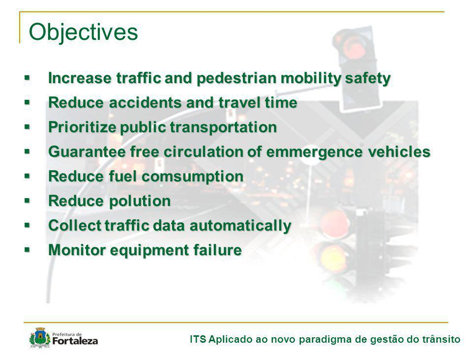 ITS Aplicado ao novo paradigma de gestão do trânsito Objectives Increase traffic and pedestrian mobility safety Increase traffic and pedestrian mobili