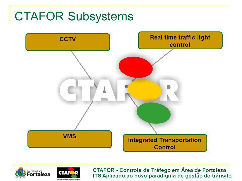 CTAFOR - Controle de Tráfego em Área de Fortaleza: ITS Aplicado ao novo paradigma de gestão do trânsito CTAFOR Subsystems CCTV Real time traffic light control VMS Integrated Transportation Control