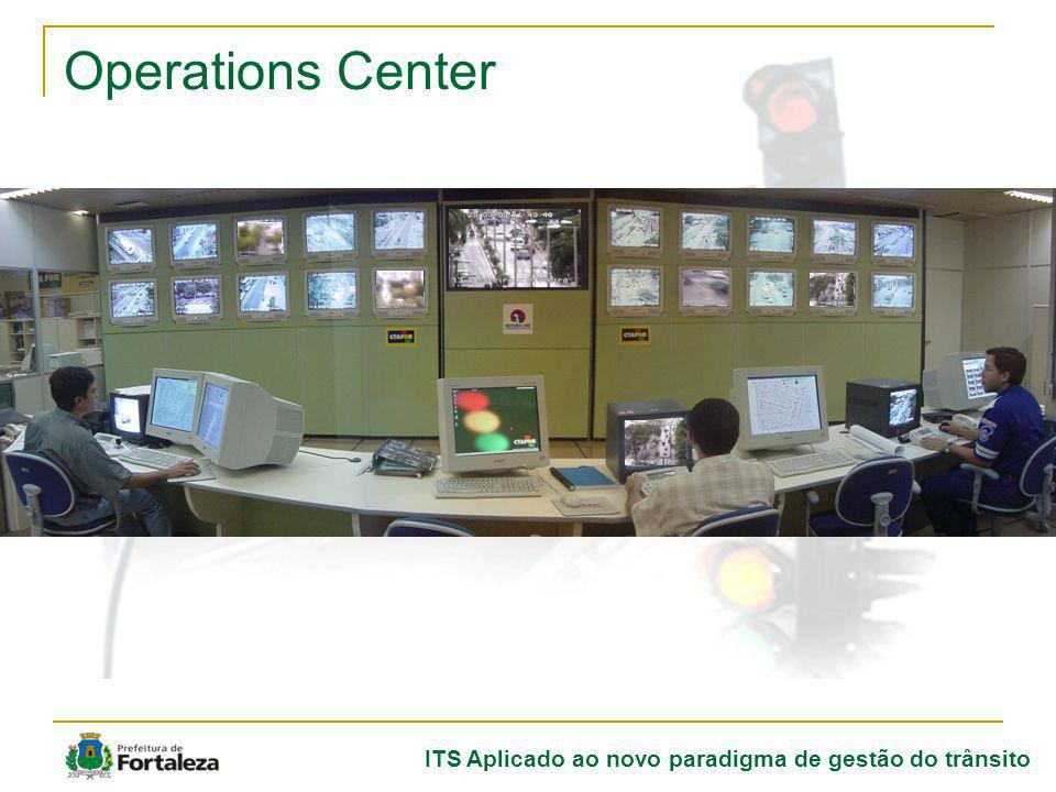 ITS Aplicado ao novo paradigma de gestão do trânsito SCOOT Real time centralized system; Real time centralized system; Real time optization cicles, greens and lags; Real time optization cicles, greens and lags; Change in timing remotelly from the Operations Center; Change in timing remotelly from the Operations Center; Collected data can be utilized for forecasts/decisons Collected data can be utilized for forecasts/decisons.