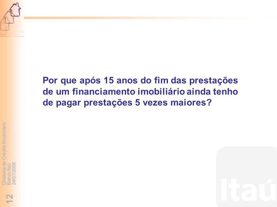 Diretoria de Crédito Imobiliário Banco Itaú 24/07/2006 12 Por que após 15 anos do fim das prestações de um financiamento imobiliário ainda tenho de pa