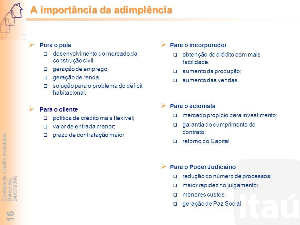 Diretoria de Crédito Imobiliário Banco Itaú 24/07/2006 16 A importância da adimplência Para o incorporador obtenção de crédito com mais facilidade; au