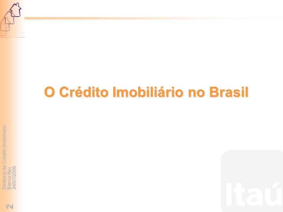Diretoria de Crédito Imobiliário Banco Itaú 24/07/2006 2 O Crédito Imobiliário no Brasil
