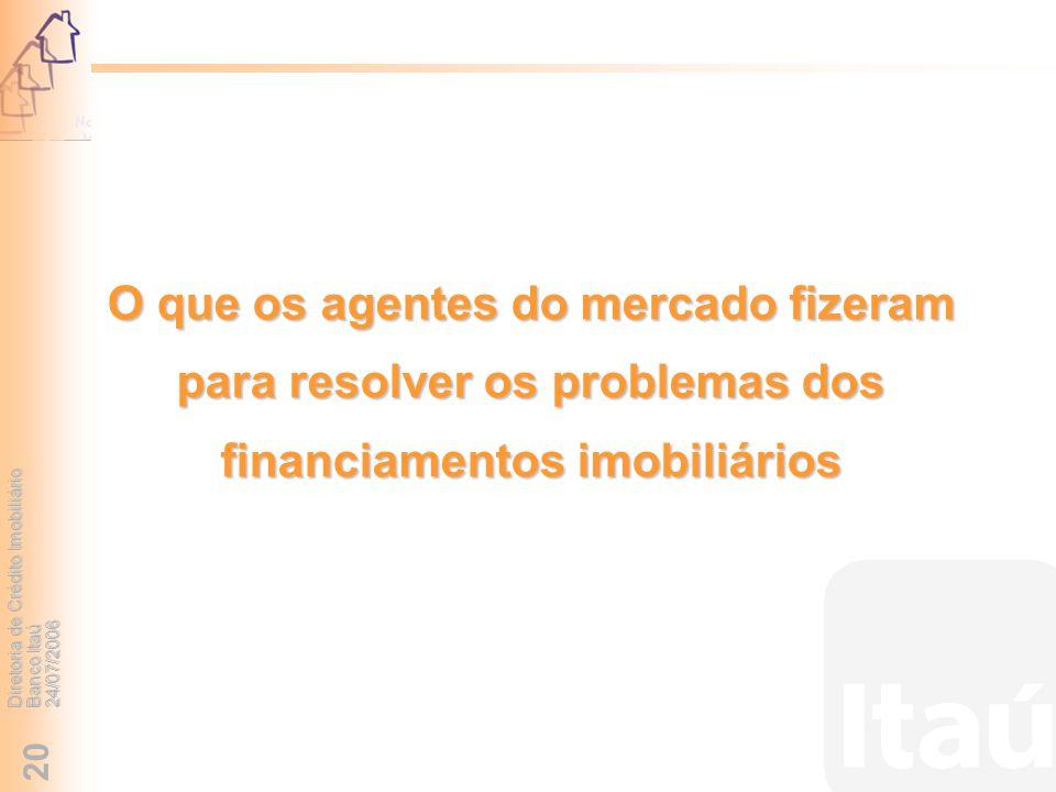 Diretoria de Crédito Imobiliário Banco Itaú 24/07/2006 20 O que os agentes do mercado fizeram para resolver os problemas dos financiamentos imobiliári